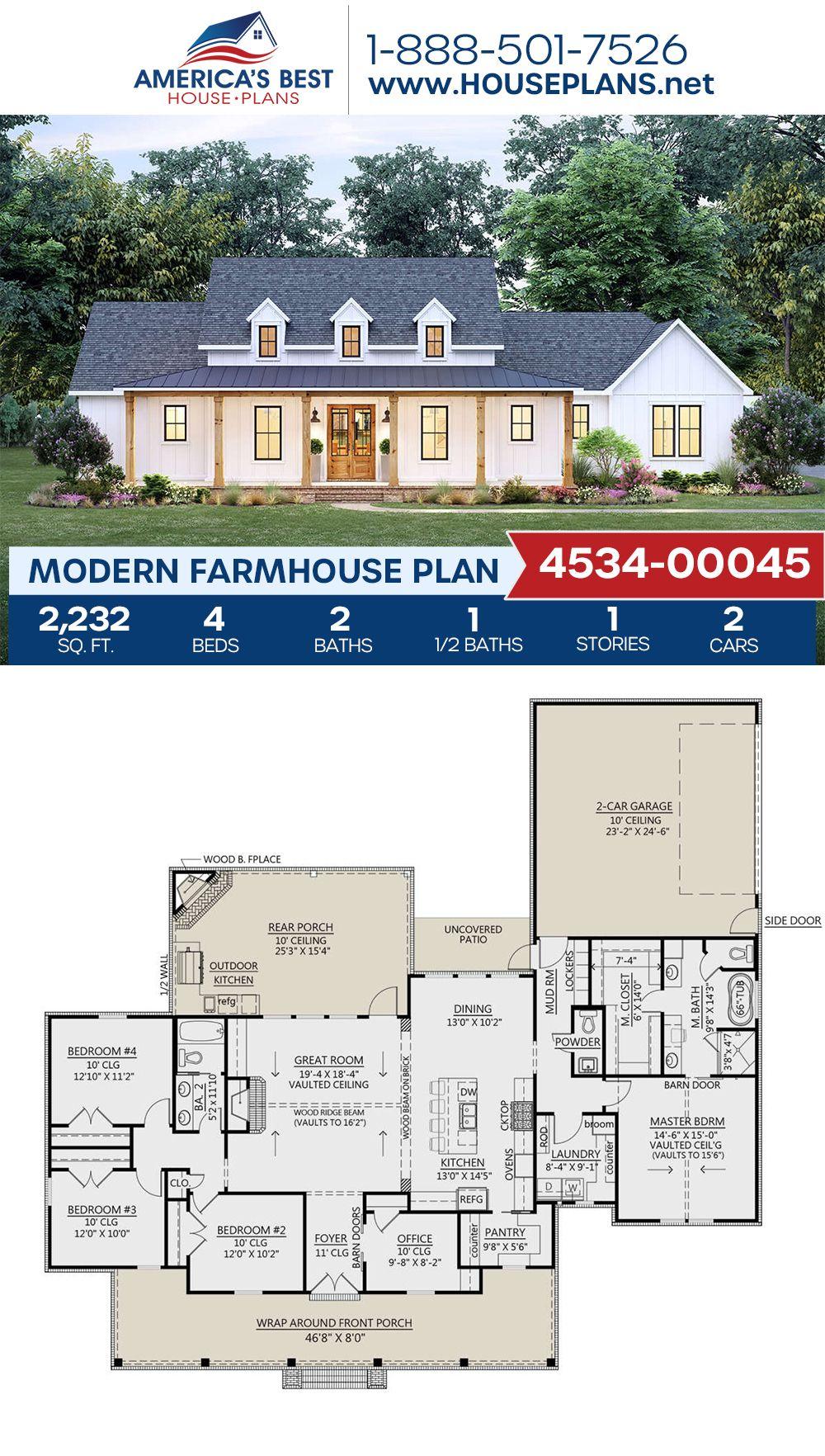 House Plan 4534 00045 Modern Farmhouse Plan 2 232 Square Feet 4 Bedrooms 2 5 Bathrooms Family House Plans Modern Farmhouse Plans Farmhouse Plans