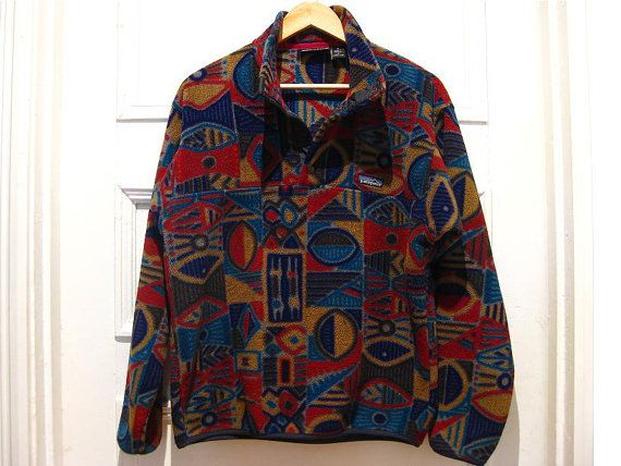Vintage retro PATAGONIA abstract fleece pullover / hippie jacket ...