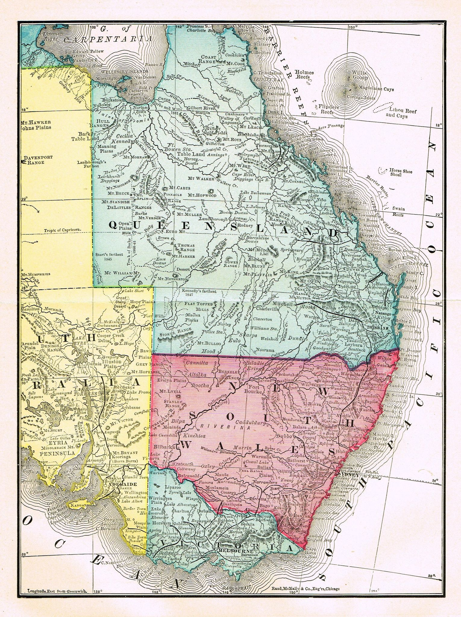 Rand Mcnally S Atlas Map Queensland New South Wales Chromo Lithograph 1895 Atlas Map Map New South Wales