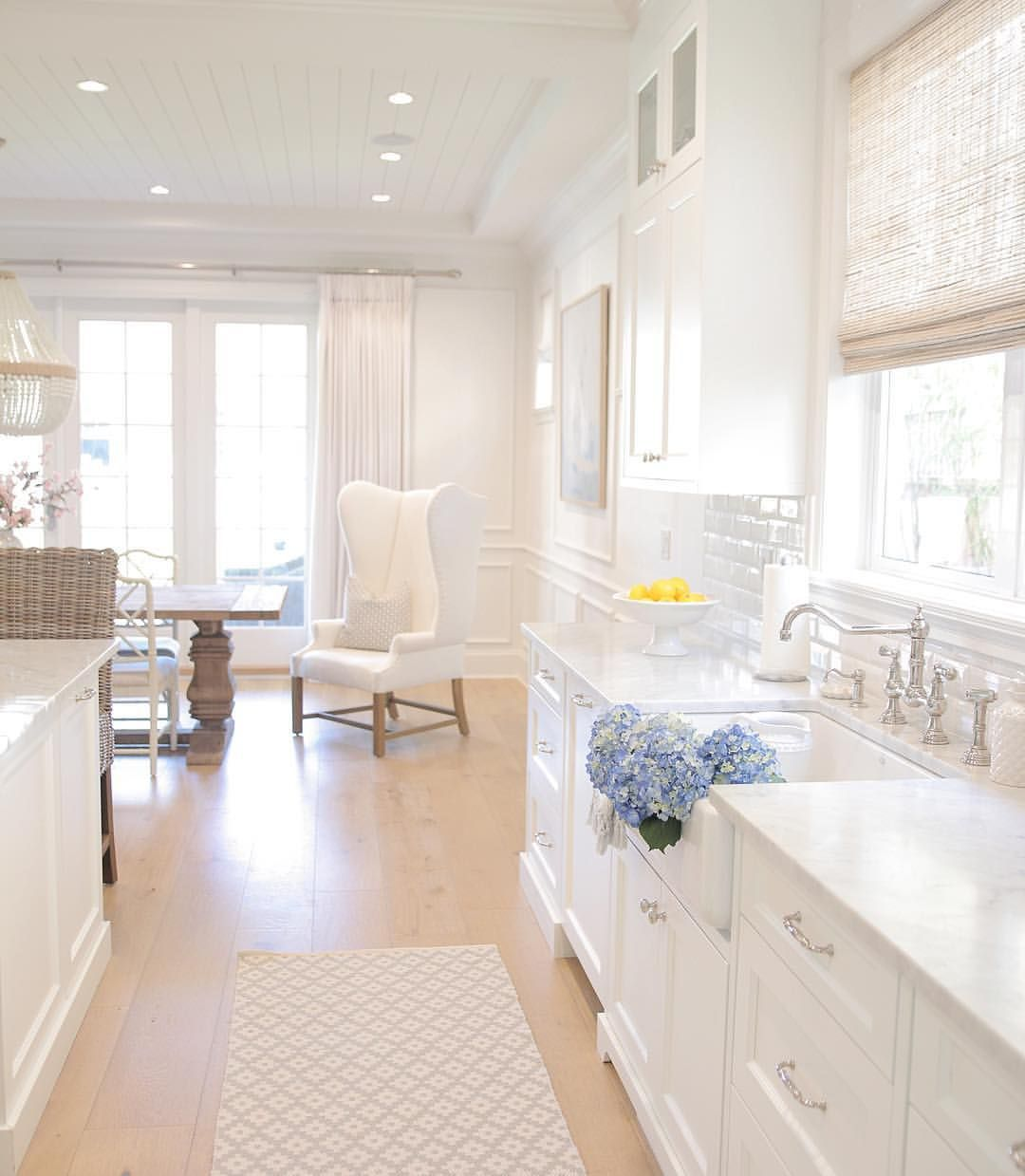 White kitchen. Hamptons style. Coastal style. Farmhouse sink. Subway ...