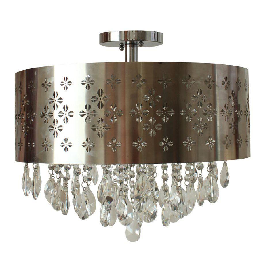 Shop Portfolio 18-in W Chrome Metal Semi-Flush Mount Light at Lowe\'s ...