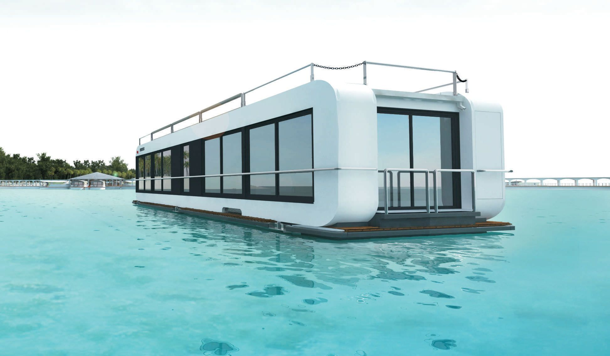 Floating House Contemporary Two Floor Energy Efficient Proreta ... on warehouse designs, boat architecture, beach designs, bank designs, boat lift designs, canoe designs, fishing designs, pier designs, boat dock, boat fashion, boat slip designs, boat flowers, island designs, rv designs, unique boat designs, barge designs, zoo designs, homemade houseboat designs, garage designs, road designs,