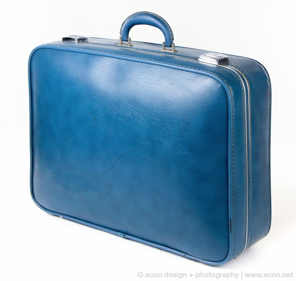 MID CENTURY MODERN BLUE HARD SHELL EXTRA LARGE SUITCASE LUGGAGE ...