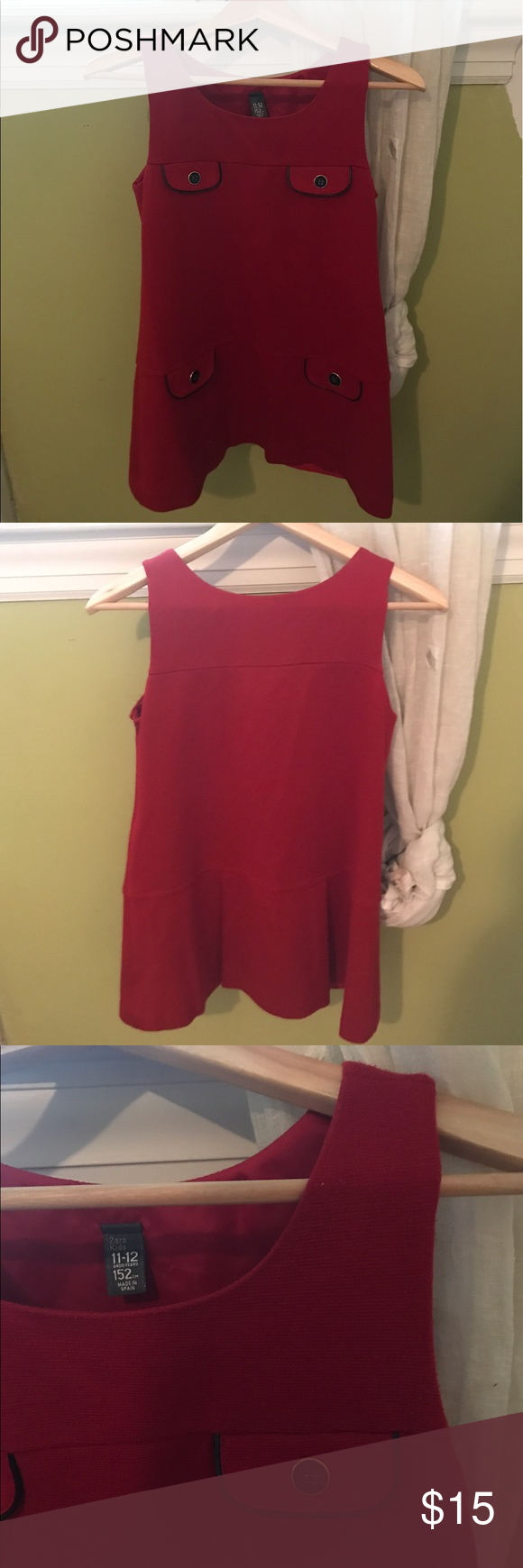 Girls Zara Dress Gently worn red shift dress by Zara Kids                               Made for girls 11-12 years, 152 centimeters long               Fabric; 95% acrylic, 3% polyamide, and 2% elastane         Worn once and in excellent condition                                   All offers considered Zara Dresses Formal