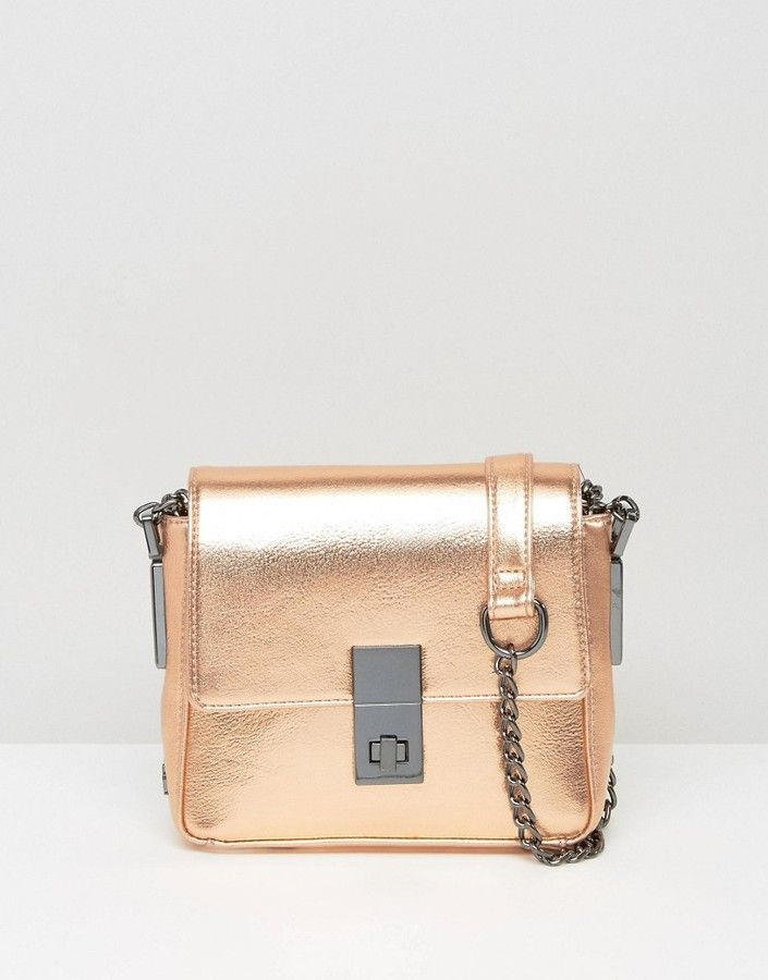 9067859675ab Faith Metallic Twist Lock Mini Crossbody Bag - Rose Gold