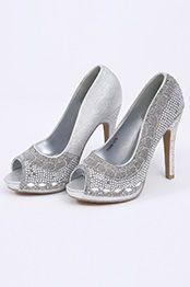Chaussures Peep Toe d'argent Talons Hauts Bijoutés (09150126)