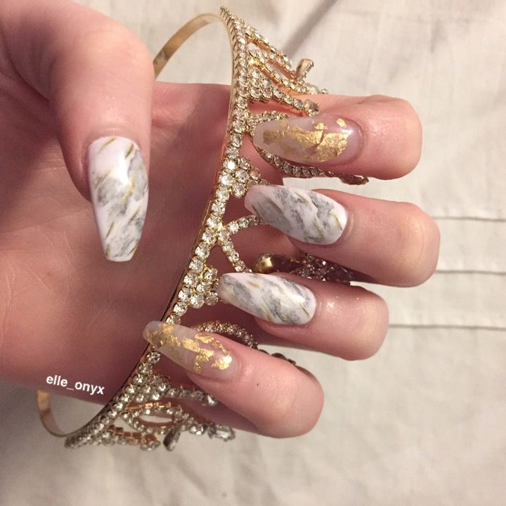 Coffin shaped white marble nails with gold flake ...