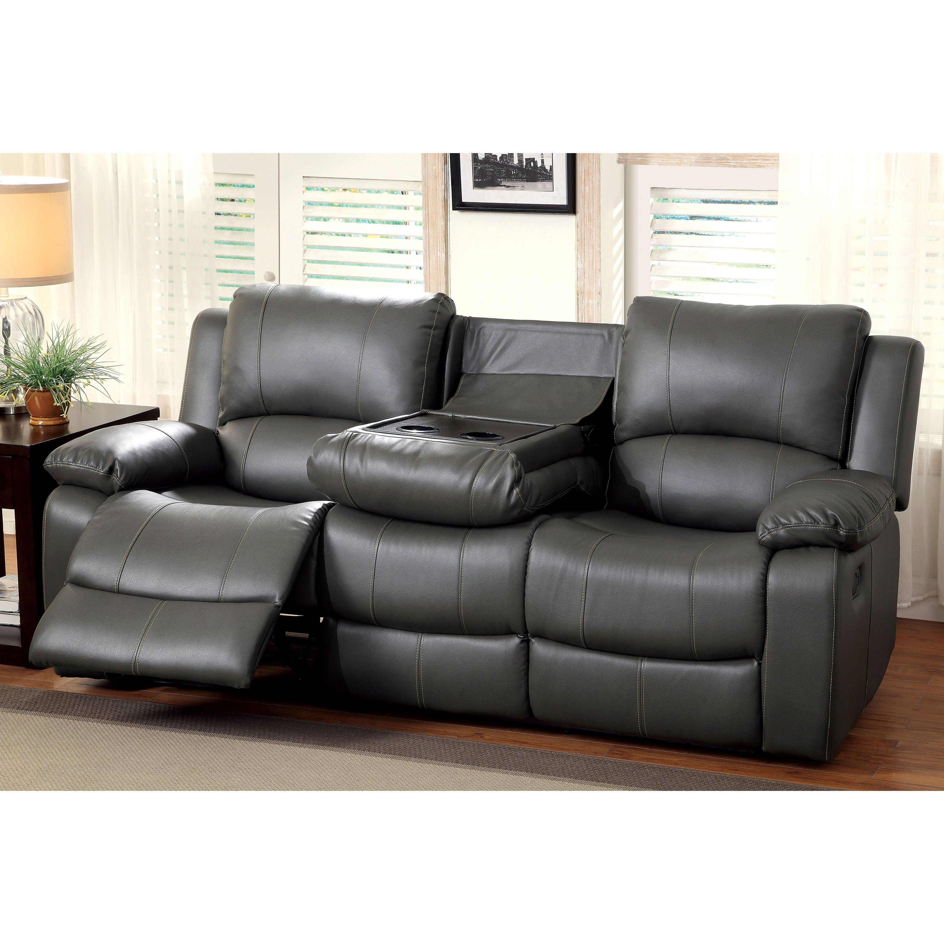 Swell Furniture Of America Rathbone Recliner Sofa With Cup Holders Machost Co Dining Chair Design Ideas Machostcouk