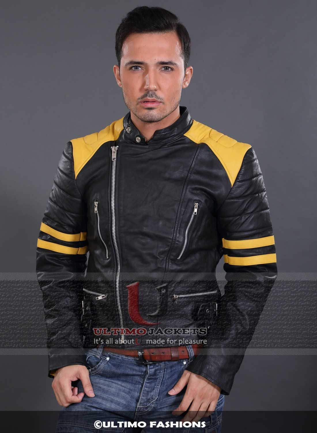 Black Motorcycle Yellow Stripes Jacket (With images