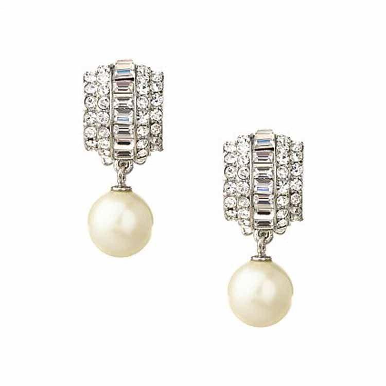 Earrings Drop Jessica Crystal Pearl Clip Carolee