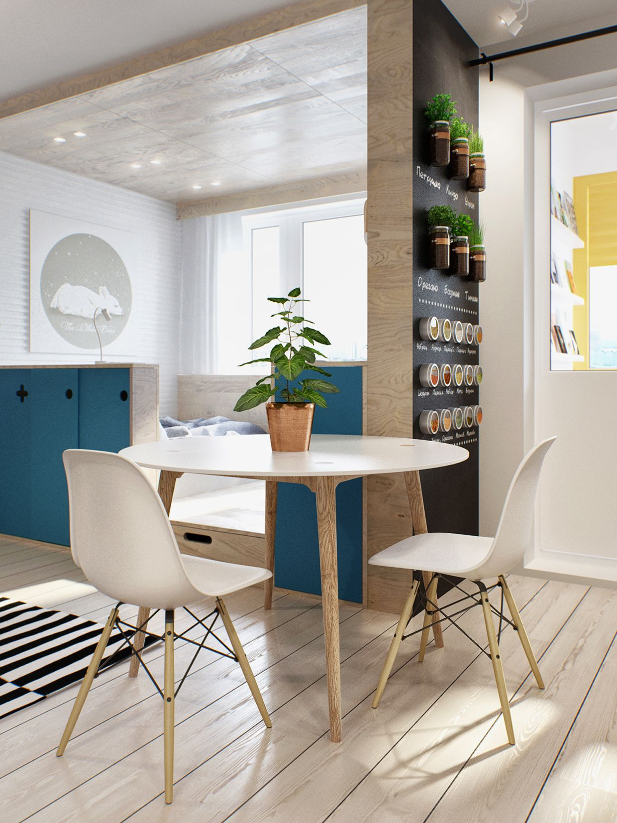 einzimmerwohnung einrichten ideen das gl nzend. Black Bedroom Furniture Sets. Home Design Ideas