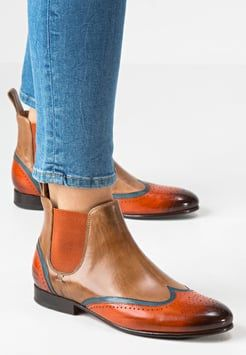 Melvin & Hamilton - SALLY 19 - Ankle Boot - orange/midblue tortora