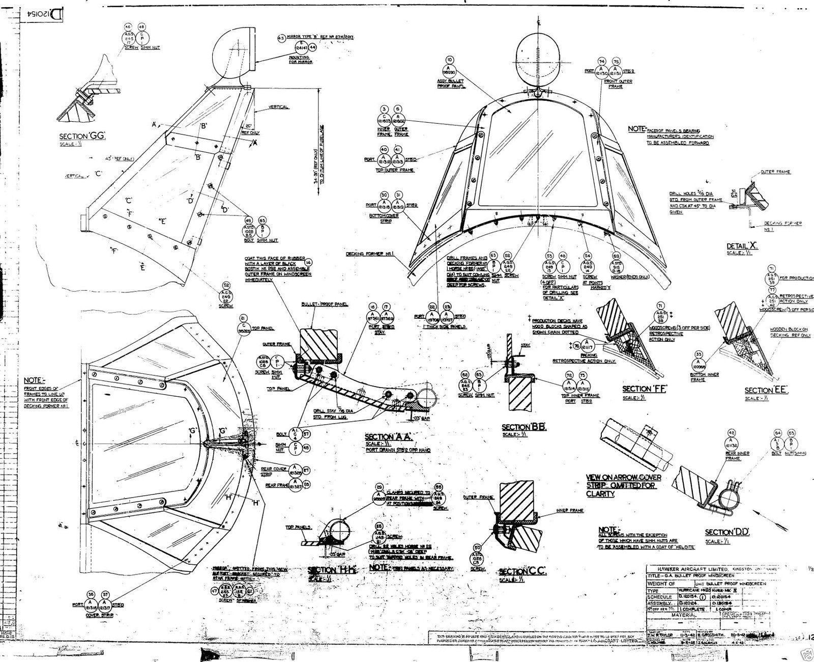 Hawker Hurricane Original Blueprint Plans Rare Archive