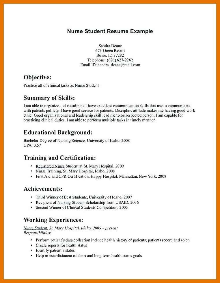 Nursing Student Resume Example In 2020 Student Nurse Resume Nursing Resume Template Student Resume Template