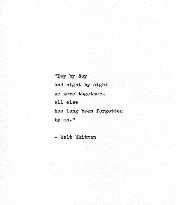 Walt Whitman Hand Typed Quote 'We Were Together' Vintage Typewriter Print Letterpress Quote 'Leaves Of Grass' American History Whitman Poem