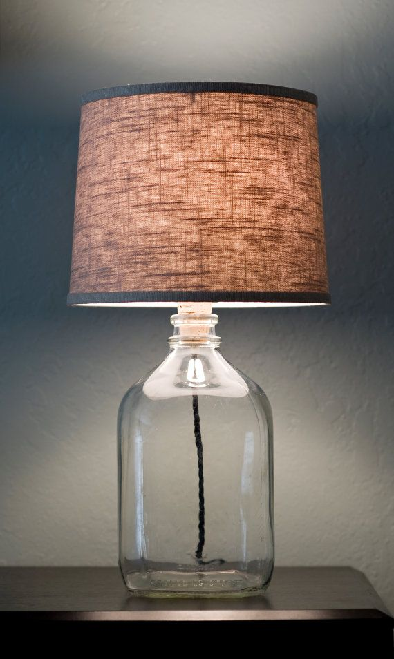 Clear Milk Jug Lamp Linen Shade Antique Cord And Plug By