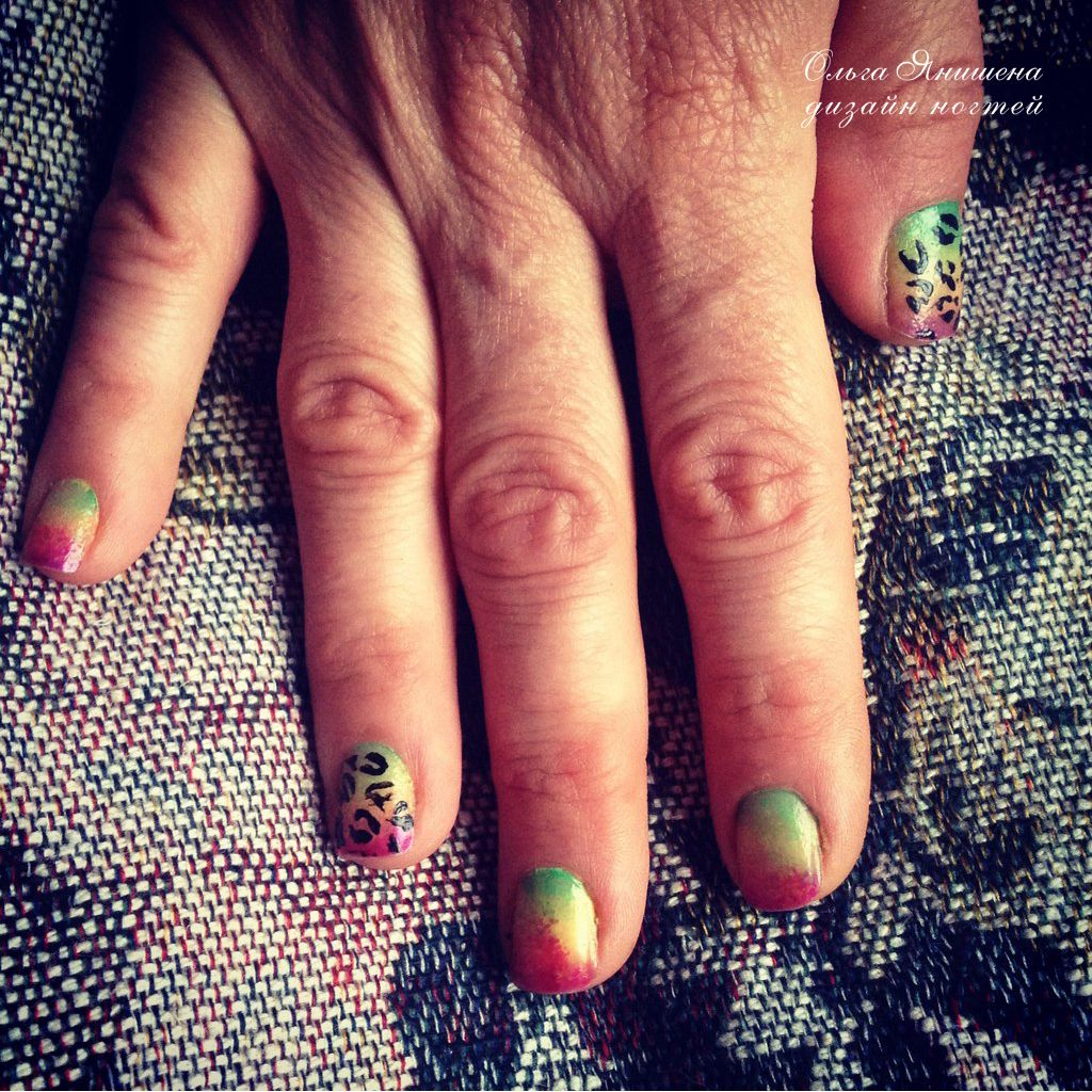 Животный принт - градиент #nail #nails #ногти #маникюр #рисунок #леопард #радуга #nailart #art #naildesign #design #nailstyle #style  #leopard #panther #rainbow