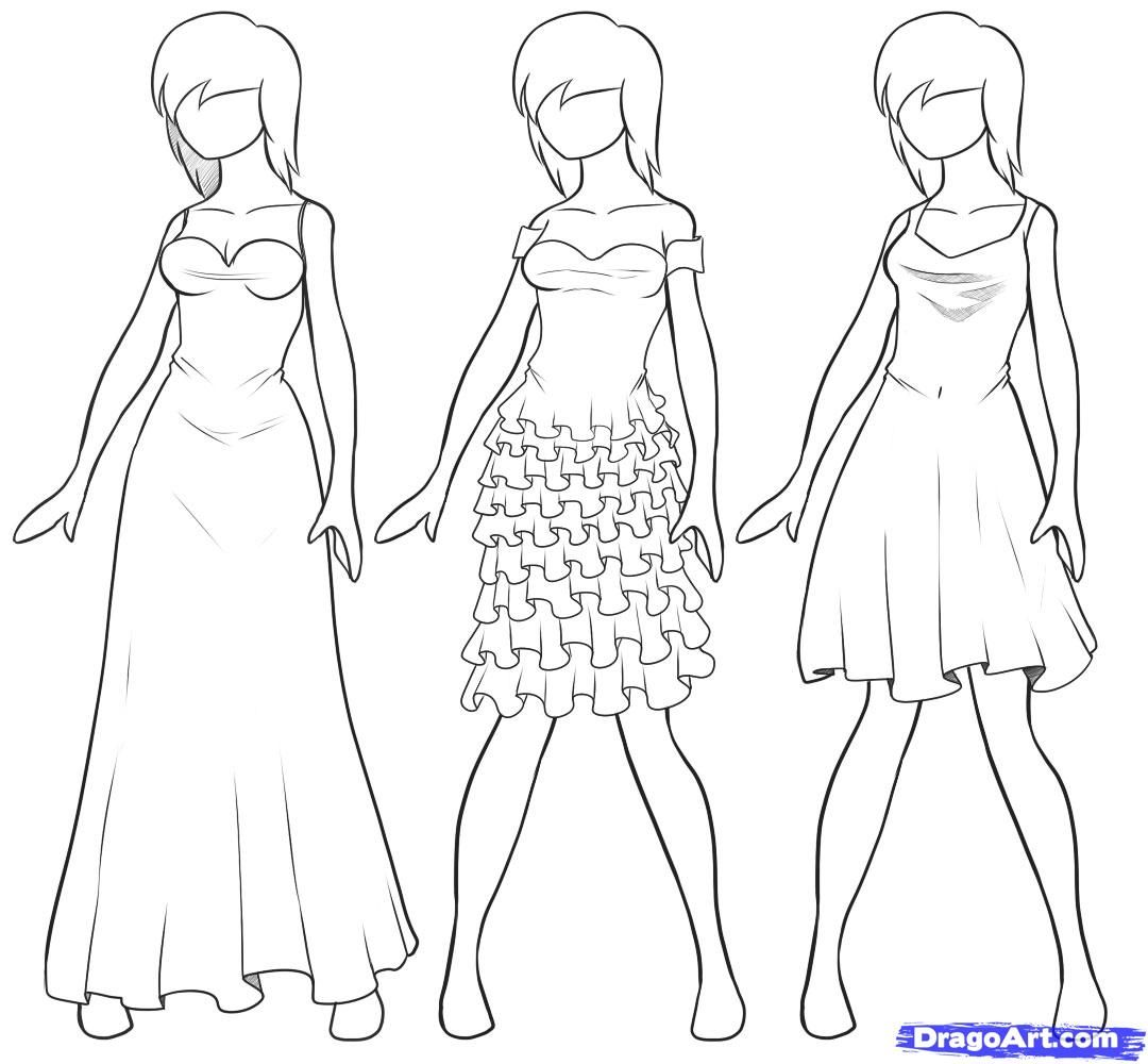 How To Draw Dresses By Dawn Drawing Anime Clothes Colorful