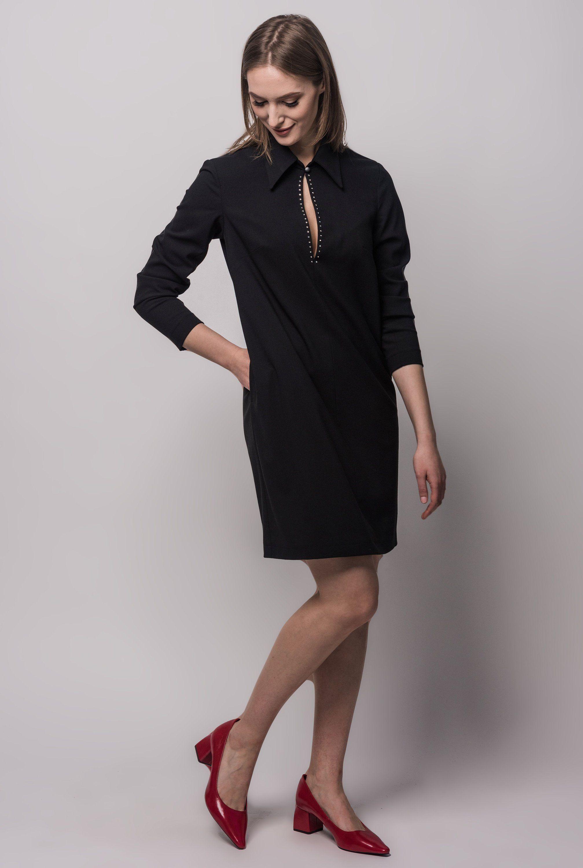 Black Dress Long Sleeves Dress With Pockets Dress Etsy Black Long Sleeve Dress Long Black Dress Pocket Dress [ 3000 x 2015 Pixel ]