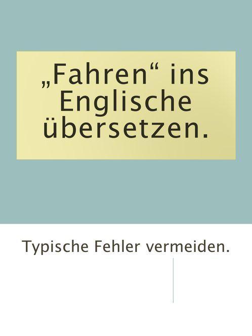 In Den Urlaub Fahren Englisch