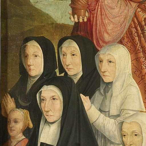 Memorial Panel With Nine Female Portraits Probably Kathrijn