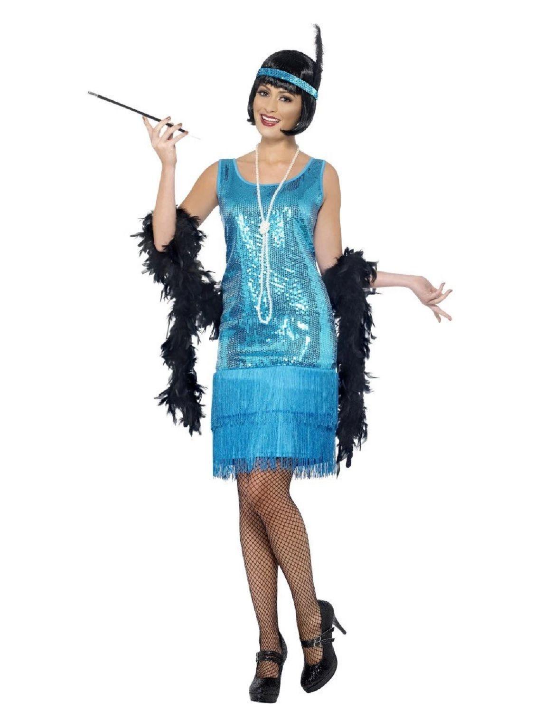 """49"""" Teal Blue Flirty Flapper Women Adult Halloween Costume"""