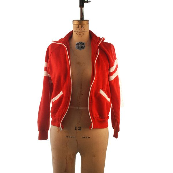 30 Off 1980s Unisex Bright Red and White Lightweight Sporty Zip Up... ($17) ❤ liked on Polyvore featuring grey, sweaters and women's clothing