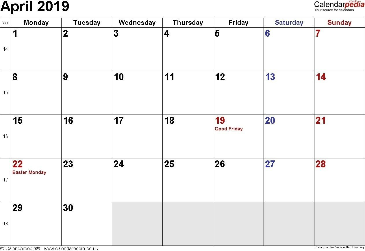 Get List Of April 2020 Calendar With Holidays In Us Uk Canada