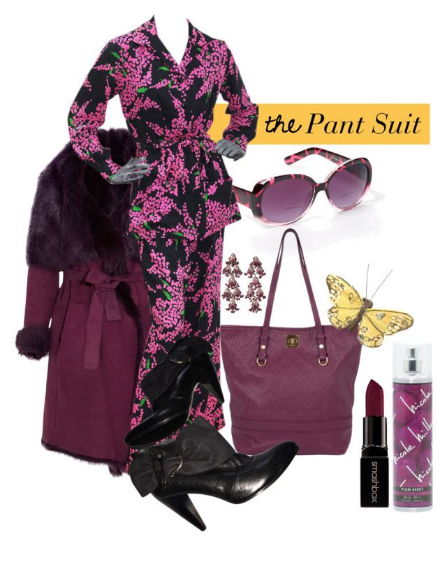 """""""Grape Suit"""" by ripwidge ❤ liked on Polyvore featuring Donna Karan, Max Studio, Yves Saint Laurent, Louis Vuitton, Nicole Miller, Smashbox and Miss Sixty"""