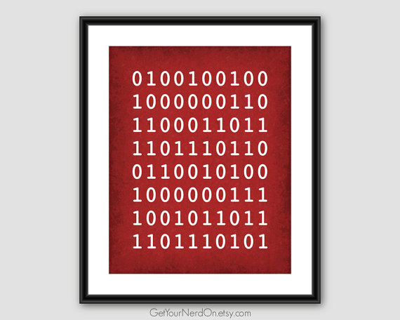 Binary I Love You Computer Science Art Nerdy Gifts For Him Baby Decor Best Er