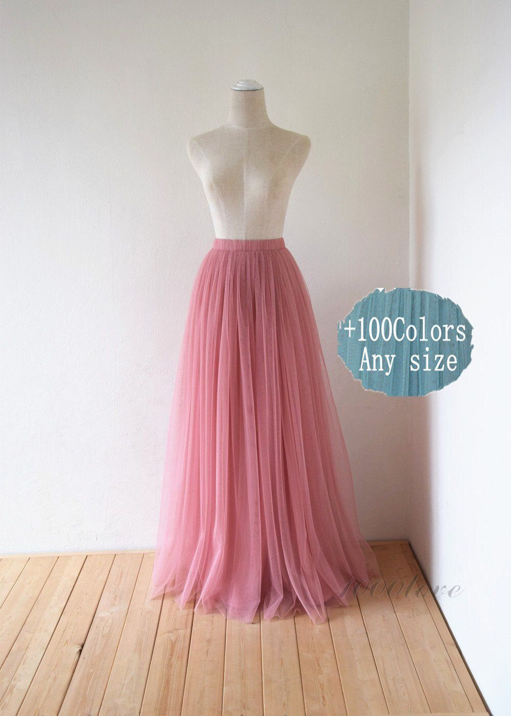 Photo of Dusty rose maxi tulle skirt,bridesmaid dress wedding dress photo shoot skirt,any size any length tulle skirt