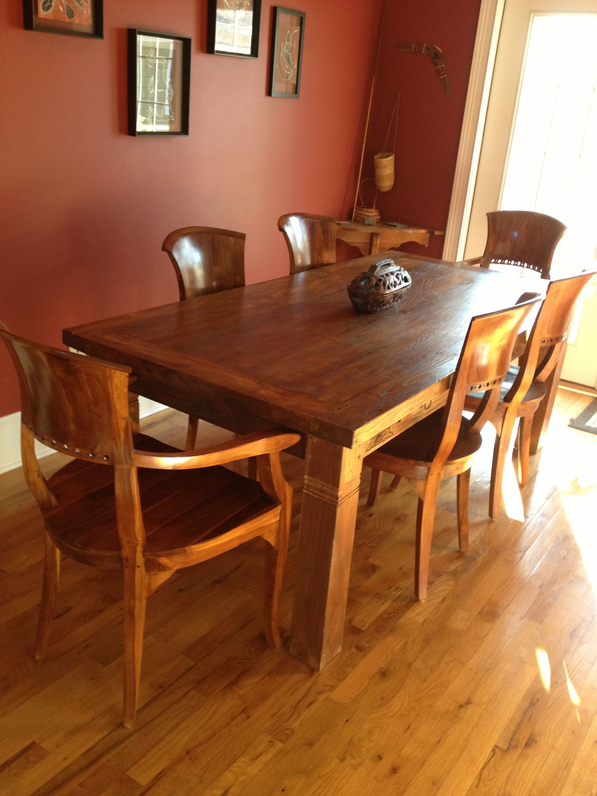 Client Photo Indonesian Teak Dining Table Teak Chairs Gado Gado - Indonesian teak dining table