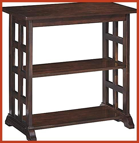 Amazing offer on Ashley Furniture Signature Design Braunsen Chairside End Table 2 Shelves Contemporary Lattice Design Brown online Chic Ashley Furniture Signature Design...