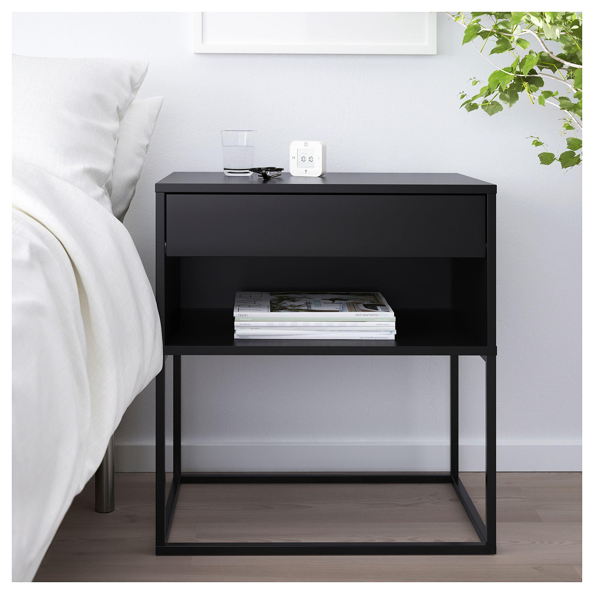 Vikhammer Bedside Table Black 60x39 Cm Black Bedside Table