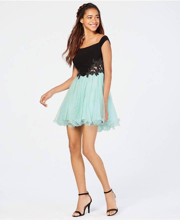 8ee799c308c Blondie Nites Juniors  Illusion Rhinestone Applique Dress