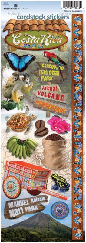 Paper House Costa Rica Cartulina pegatinas Scrapbooking Monteverde Volcán Arenal