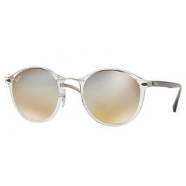 6e1a16b4b6 Ray Bans RB4242 Round sunglasses – Transparent  Brown Frame   Silver Gradient  Flash Lens