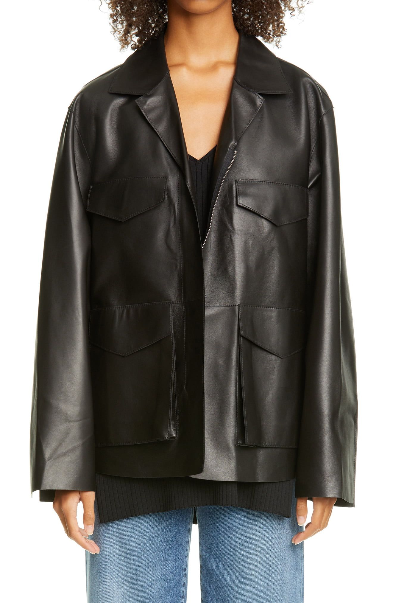 Toteme Avignon Oversize Leather Jacket Nordstrom Leather Jacket Celebrities Leather Jacket Jackets [ 2024 x 1320 Pixel ]