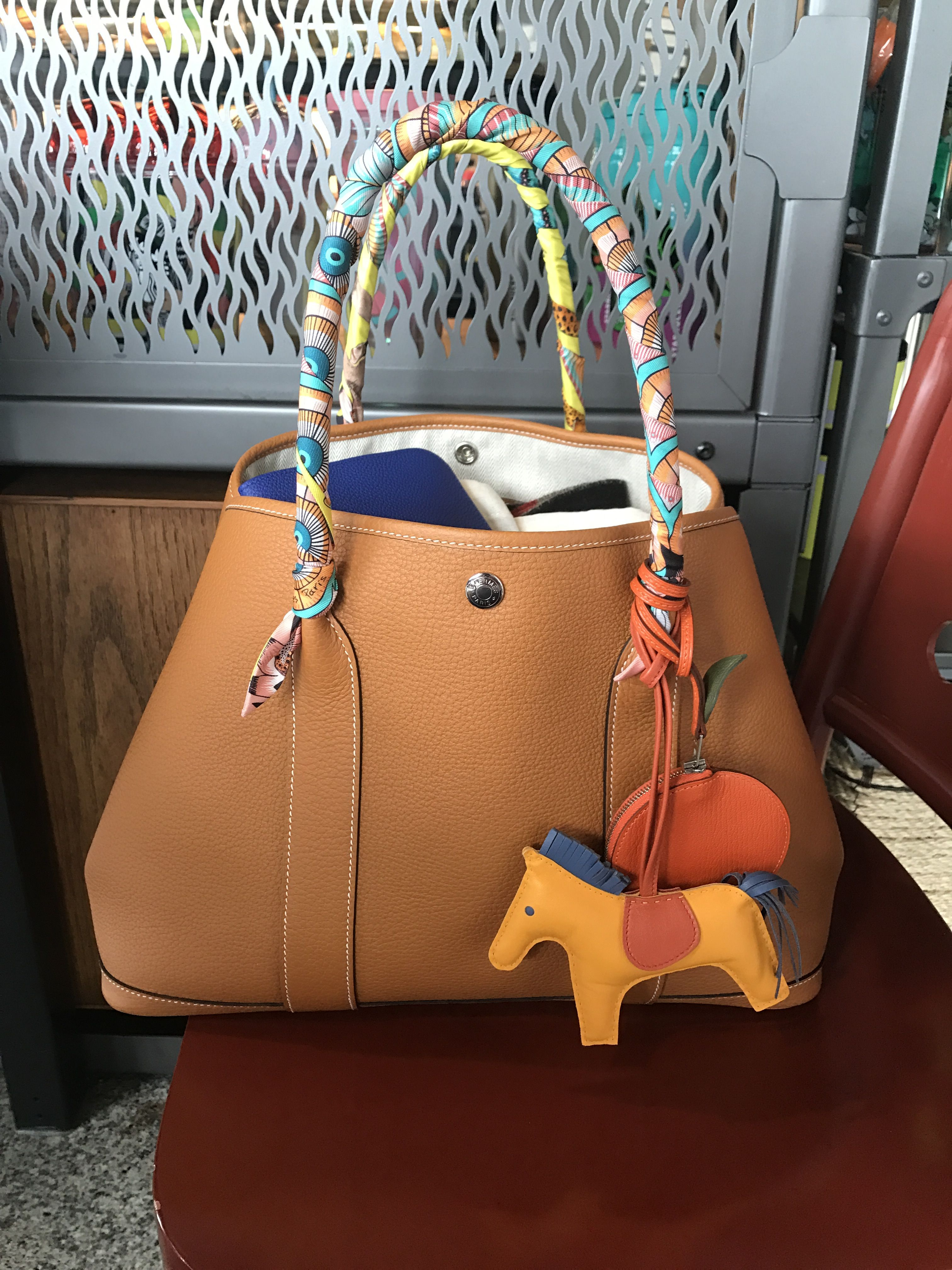 7c3385571a0b Hermes Garden party GM36 (clemence toffee) + Hermes Twilly + Hermes Rodeo  charm MM + Hermes Tutti-Frutti Orange charm (chevre)