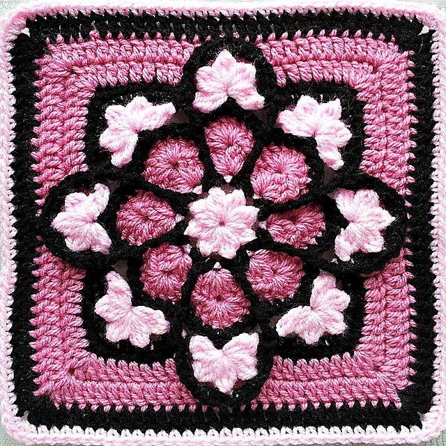 JulieAnny's Stained Glass Afghan Square.
