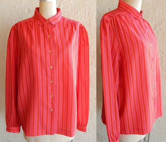 220dbd2574b5 Blouse Dress Shirt Red Pink Orange Center Stage Vintage 60s Long Sleeve  Plus Size Designer Size