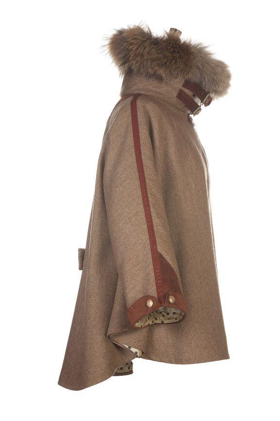 Cape in Brown Herringbone with a Racoon Fur trim | Ladies Tweed | Holland Cooper - Luxury Country Clothing from Holland Cooper - Tweed with a Twist