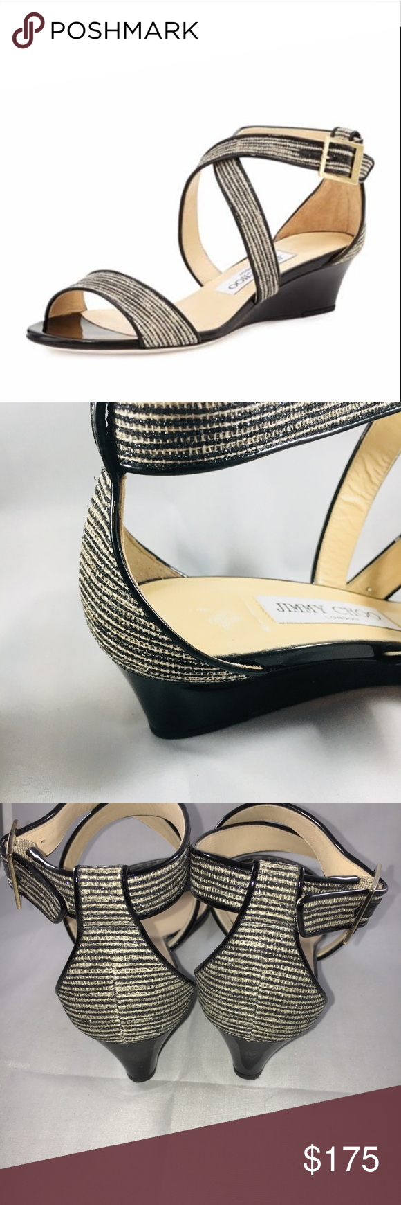 3aacd0c2255f Jimmy Choo Demi Wedge Sandal - US Size 7-1 2 Jimmy Choo Chiara Glitter  Crisscross Demi Wedge Sandal - Euro Size 37-1 2 US Size 7-1 2 Gently loved  - ready ...