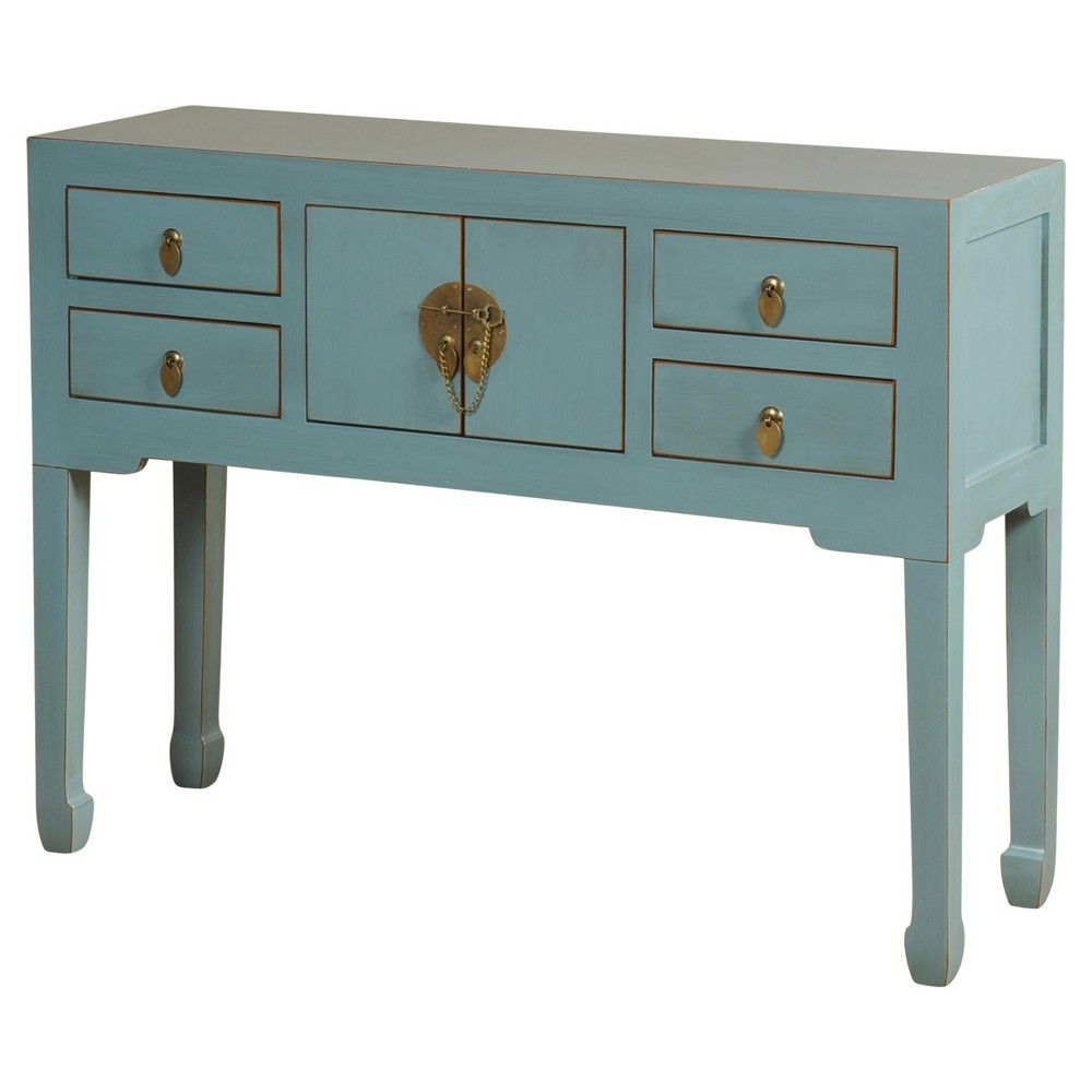 Asian Inspired Console Table With Antique Brass Hardware French