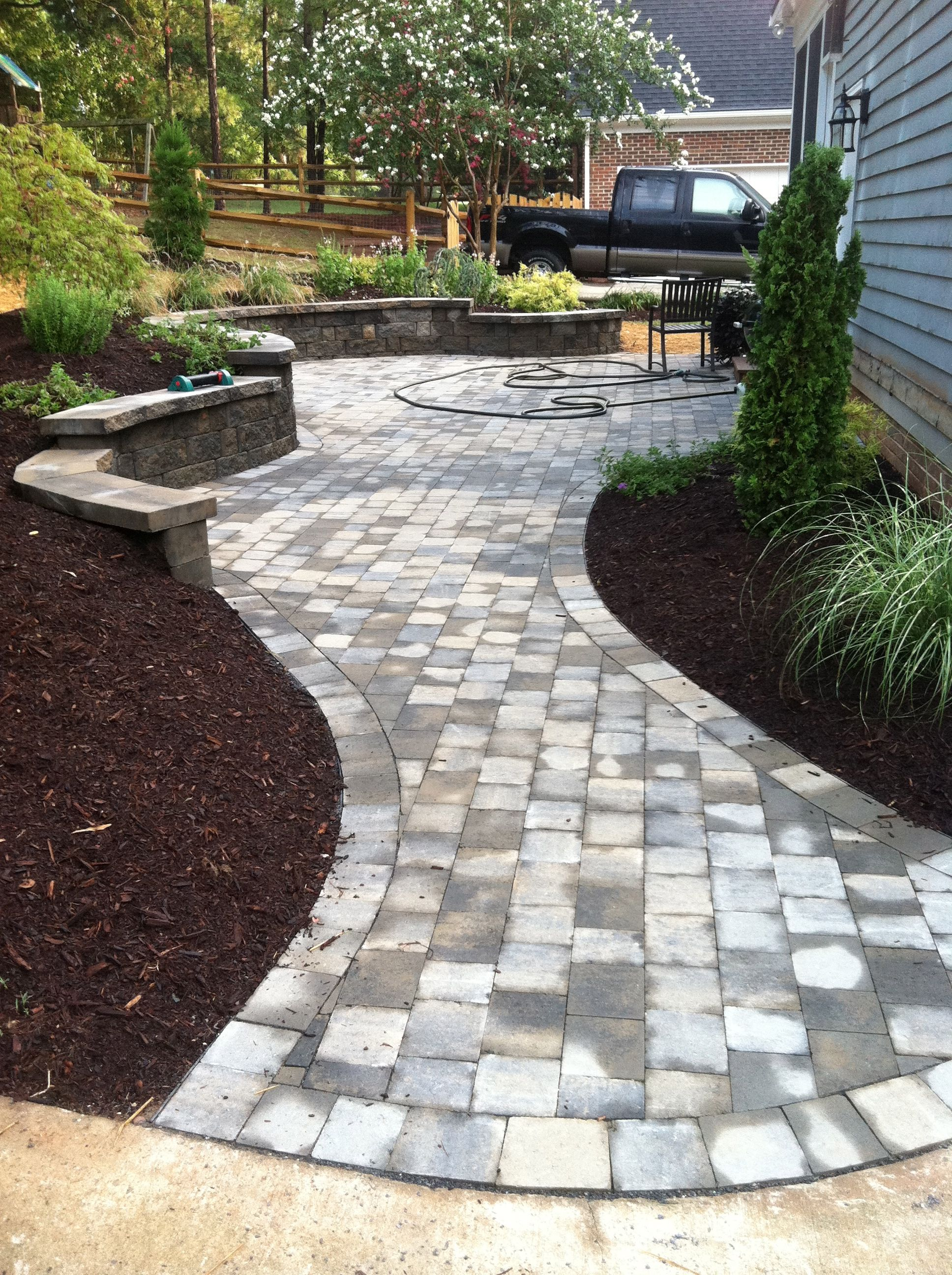Paver Patio/Walkway | Pavers backyard, Patio pavers design ... on Small Brick Patio Ideas id=81375