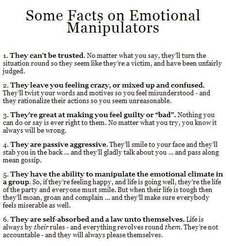 Emotional manipulation and narcissism