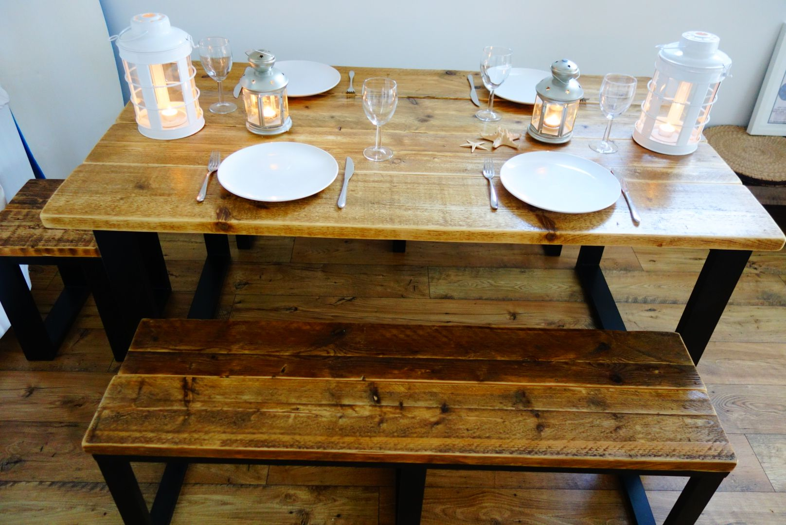 Reclaimed kitchen table  Handmade Reclaimed Wood Dining Table u Benches set on a Steel Frame