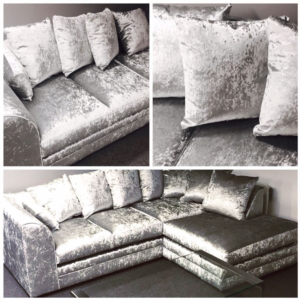 Details About The Wandsworth Left Or Right Corner Sofa 3 2 Seater Silver Crushed Velvet Corner Sofa Velvet Living Room Crushed Velvet Living Room