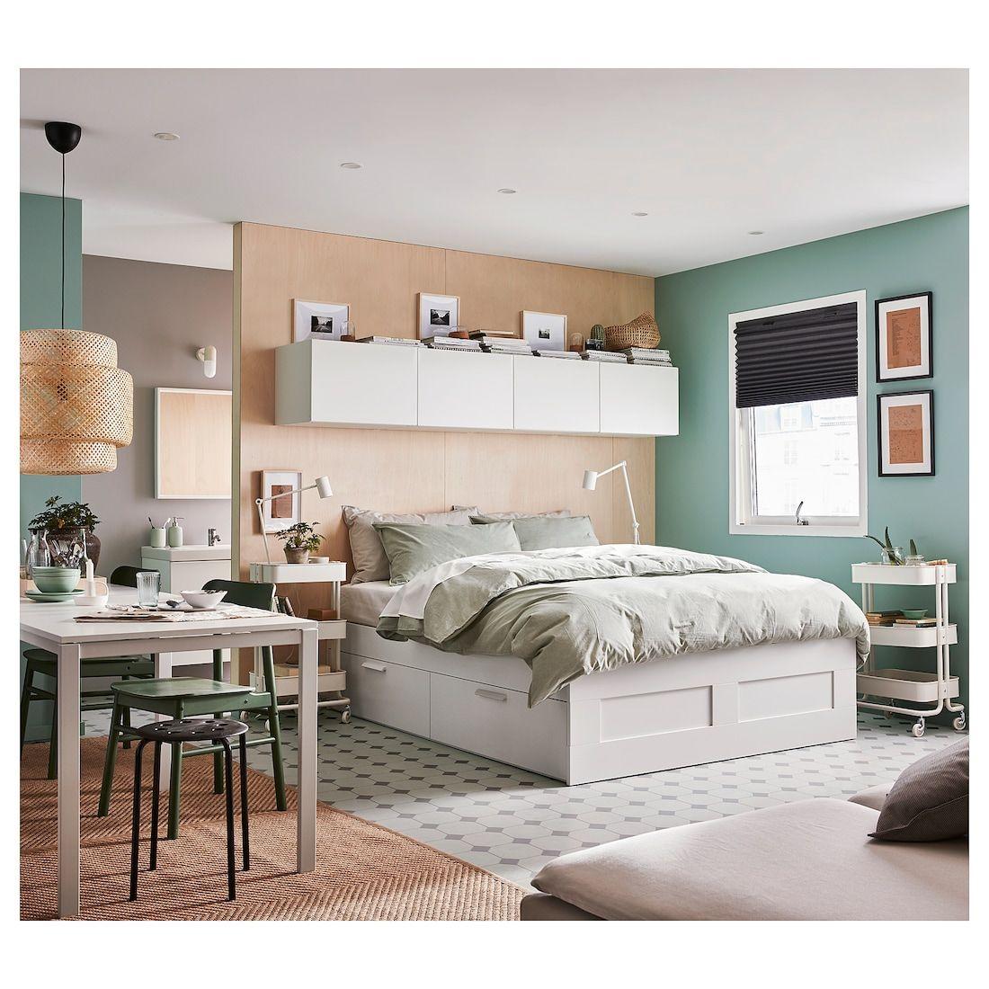 BRIMNES white, Luröy, Bed with storage, Standard King