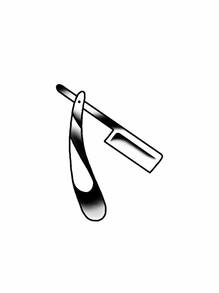 barber straight razor tattoo flash